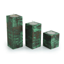 Load image into Gallery viewer, 'Teal Blocks' Antique Finish Tea Light Holders In Mango Wood (Set of 3)