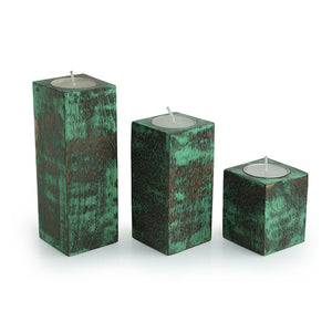 'Teal Blocks' Antique Finish Tea Light Holders In Mango Wood (Set of 3)