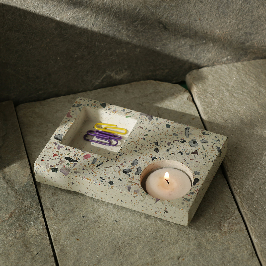 'The Shimmering Slab' Handcrafted Terrazzo Tea Light & Knick Knack Holder In Concrete