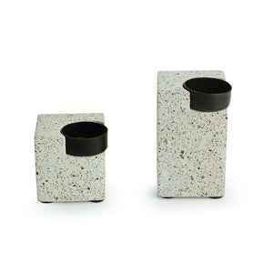 'Glow of The Cuboid' Handcrafted Terrazzo Tea Light Holder In Concrete (Set of 2)