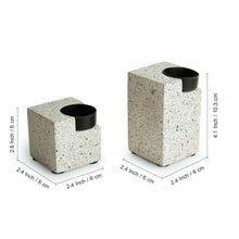 Load image into Gallery viewer, 'Glow of The Cuboid' Handcrafted Terrazzo Tea Light Holder In Concrete (Set of 2)