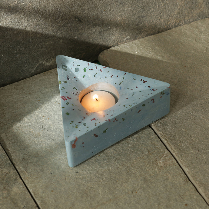 'The Vibrant Blues' Handcrafted Terrazzo Tea Light Holder In Concrete