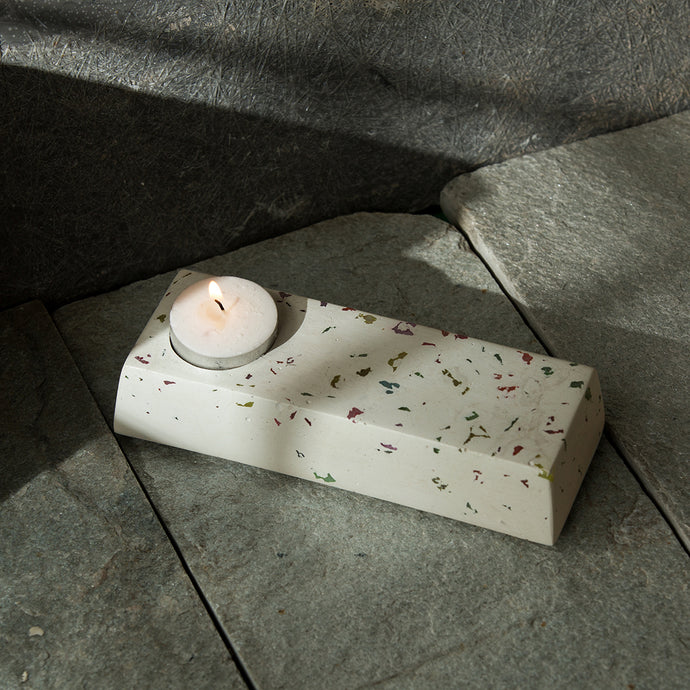 'Bar of Radiance' Handcrafted Terrazzo Tea Light Holder In Concrete
