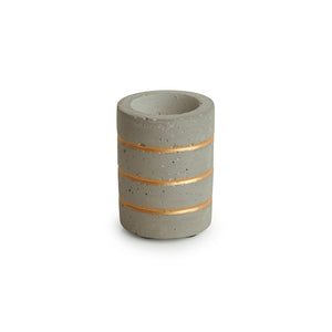 'Golden Glowing Rings' Handcrafted Terrazzo Tea Light Holder In Concrete
