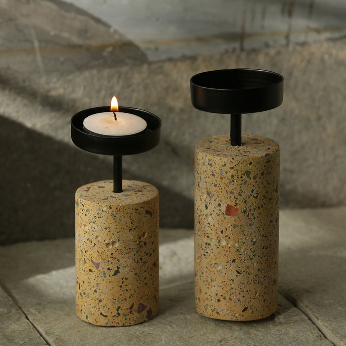 'The Shiny Cylinders' Handcrafted Terrazzo Tea Light Holder In Concrete (Set of 2)