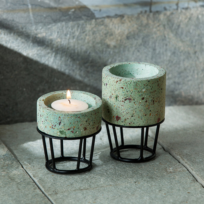 'The Curvy Towers' Handcrafted Terrazzo Tea Light Holder In Concrete (Set of 2)