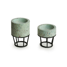 Load image into Gallery viewer, 'The Curvy Towers' Handcrafted Terrazzo Tea Light Holder In Concrete (Set of 2)