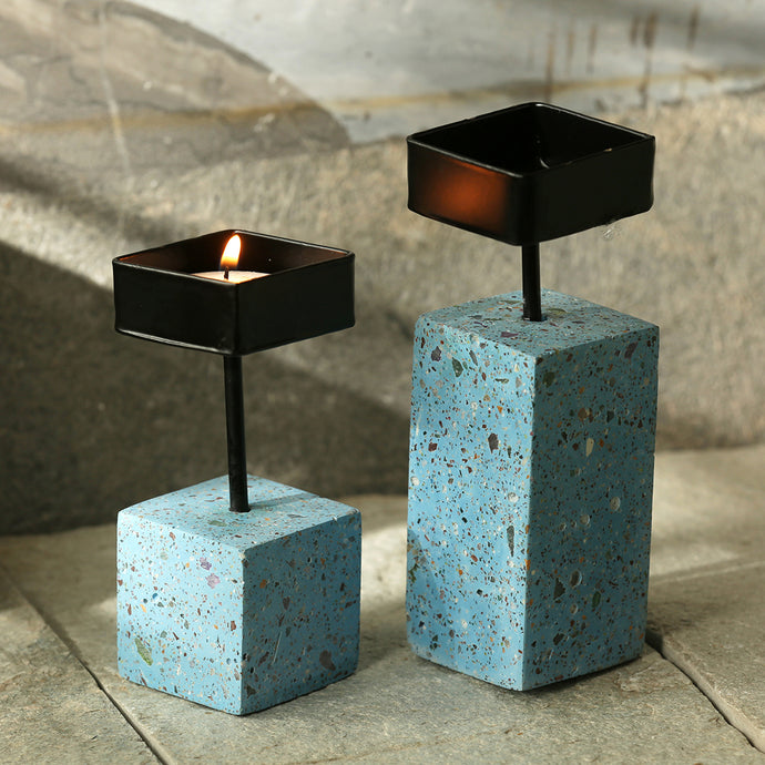 'Blocks Of Azure' Handcrafted Terrazzo Tea Light Holder In Concrete (Set of 2)