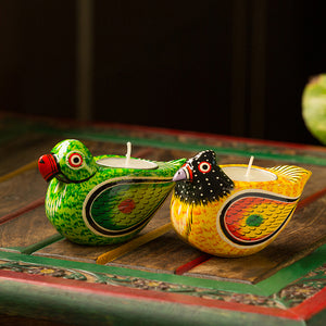 'Lighting Parrots' Hand-Painted Tea-Light Holders In Gullar Wood (Set of 2)