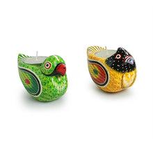 Load image into Gallery viewer, 'Lighting Parrots' Hand-Painted Tea-Light Holders In Gullar Wood (Set of 2)