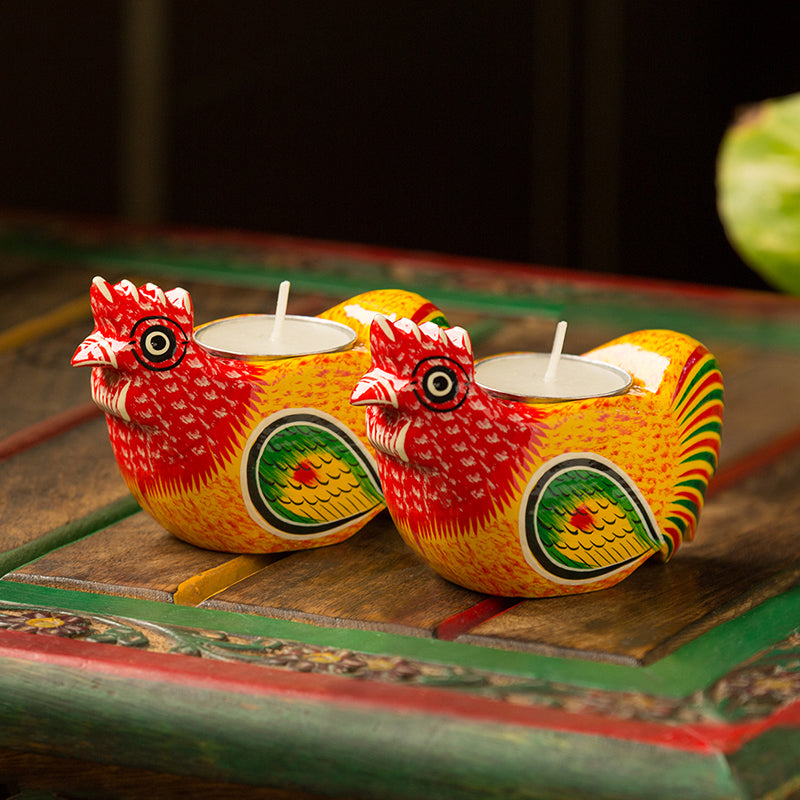 'Lighting Roosters' Hand-Painted Tea-Light Holders In Gullar Wood (Set of 2)