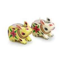 Load image into Gallery viewer, 'Lighting Rabbits' Hand-Painted Tea-Light Holders In Gullar Wood (Set of 2)