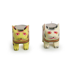'Lighting Rabbits' Hand-Painted Tea-Light Holders In Gullar Wood (Set of 2)