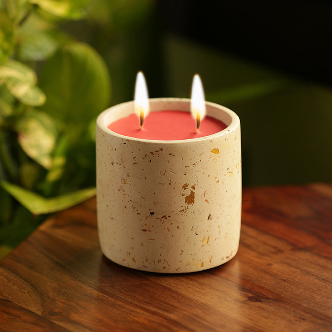 'The White Rose' Scented Wax Candle In Terrazzo & Concrete