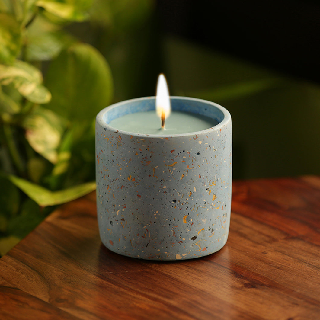 'The Blue Lotus' Scented Wax Candle In Terrazzo & Concrete