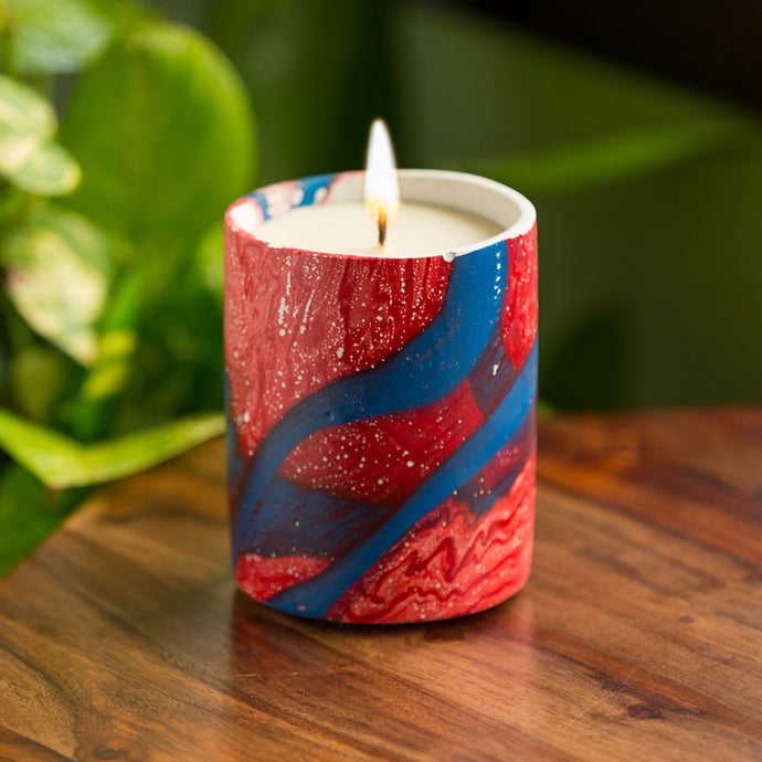 'The Lilian Blue' Scented Wax Candle In Concrete with Abstract Handpainting