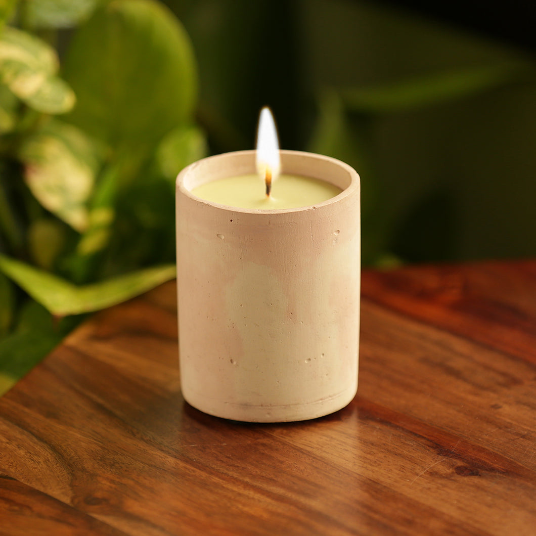 'The Pinked Vanilla' Scented Wax Candle In Concrete
