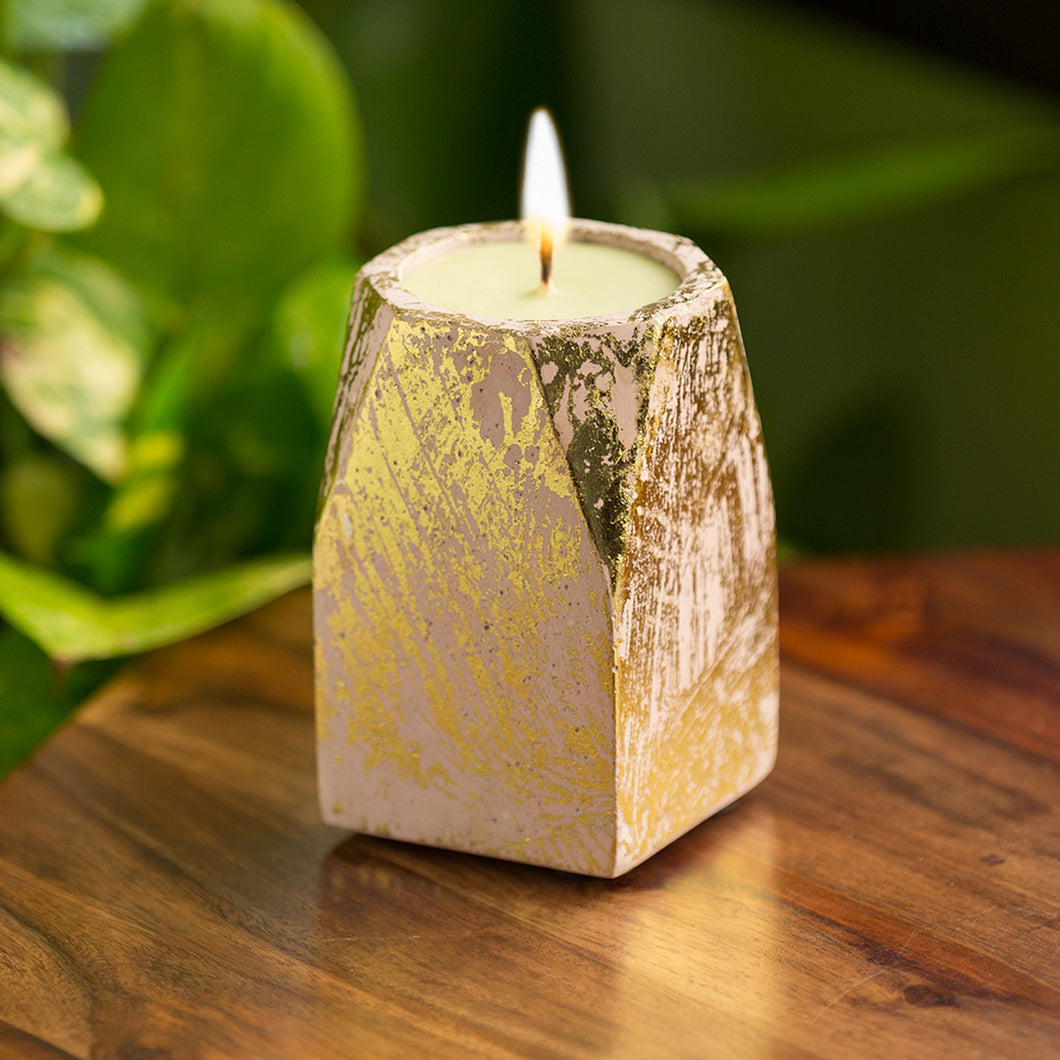 'Golden-Sandalwood' Scented Wax Candle In Gold Foil & Concrete