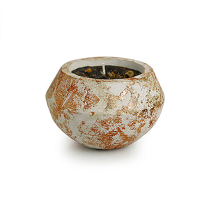'The Copper-Poem' Scented Wax Candle In Copper Foil & Concrete