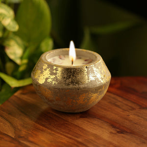 'The Golden Rose' Scented Wax Candle In Gold Leaf & Concrete