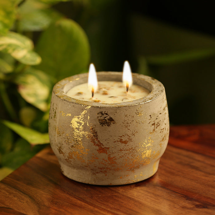 'The Golden Vanilla' Scented Wax Candle In Gold Leaf & Concrete