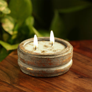 'The Copper Leaf' Scented Wax Candle In Copper Leaf & Concrete