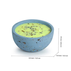 'The Blue-Lavender' Scented Wax Candle In Terrazzo & Concrete