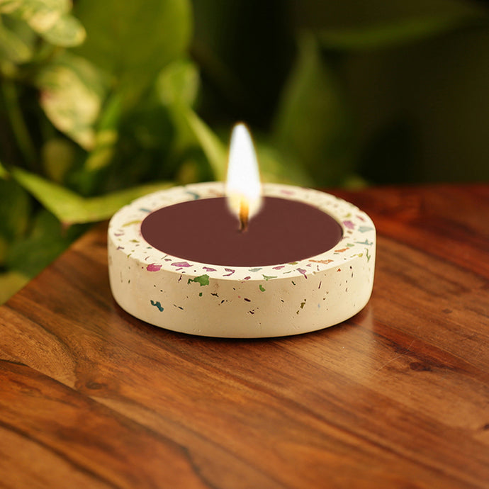'The Neon Rose' Scented Wax Candle In Neon Chips & Concrete