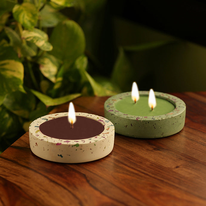 'The Double-Delight' Scented Wax Candle In Neon Chips & Concrete (Set of 2)