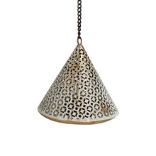 "Load image into Gallery viewer, ""Rustic Mughal Cone"" Handcrafted Hanging Tea-Light Holder In Iron"