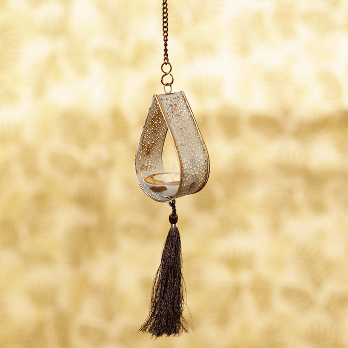 """Rustic Mughal Leaf Drop"" Handcrafted Hanging Tea-Light Holder In Iron"