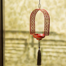 "Load image into Gallery viewer, ""Rustic Mughal Door"" Handcrafted Tea-Light Holder & Hanging Pillar Candle In Iron"