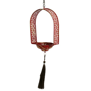 """Rustic Mughal Door"" Handcrafted Tea-Light Holder & Hanging Pillar Candle In Iron"