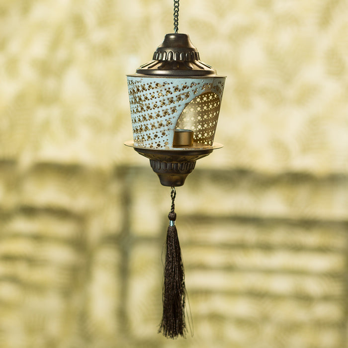 """Rustic Mughal Shade"" Handcrafted Hanging Tea-Light Holder In Iron"