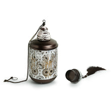 "Load image into Gallery viewer, ""Rustic Mughal Cylindrical"" Handcrafted Hanging Tea-Light Holder In Iron"