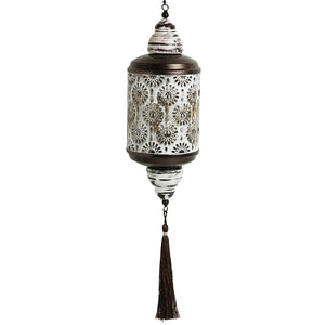 """Rustic Mughal Cylindrical"" Handcrafted Hanging Tea-Light Holder In Iron"