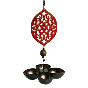 """Rustic Mughal Diya"" Handcrafted Tea-Light Holder & Hanging Diya In Iron (4 Diyas)"