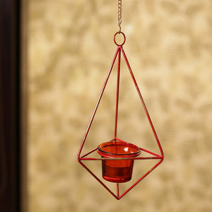 """Rustic Crystal"" Hanging Tea-Light Holder In Iron and Glass"
