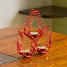 "Load image into Gallery viewer, ""Red Leaf-Drops"" Handcrafted Table Tea-Light Holder In Iron"