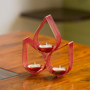 """Red Leaf-Drops"" Handcrafted Table Tea-Light Holder In Iron"