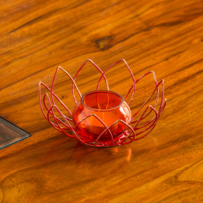 """Red Lotus"" Handcrafted Table Tea-Light Holder In Iron"
