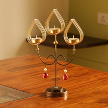 "Load image into Gallery viewer, ""Golden Leaf-Drops"" Handcrafted Standing Table Tea-Light Holder In Iron"