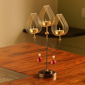 """Golden Leaf-Drops"" Handcrafted Standing Table Tea-Light Holder In Iron"