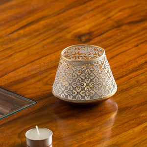 """Mughal Frustum"" Handcrafted Rustic Table Tea-Light Holder In Iron"