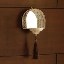"Load image into Gallery viewer, ""Rustic Mughal Reflection"" Handcrafted Tea-Light & Wall Pillar Candle Holder In Iron"