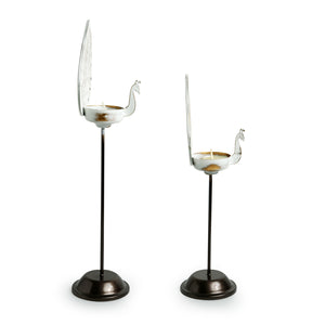 """Mughal Peacock Pair"" Handcrafted Standing Rustic Table Tea-Light Holders In Iron (Set of 2)"