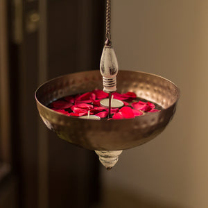 """Antique Hammered"" Handcrafted Hanging Tea-Light & Flower Urli In Iron"