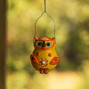 """Glowing Owl"" Handmade & Hand-Painted Tea-Light Holder In Terracotta"