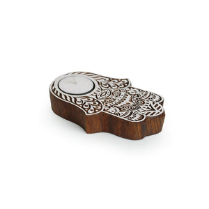 """Radiant Palm"" Hand-Carved Block Tea-Light Holder In Sheesham Wood"