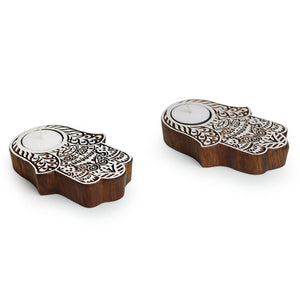 """Radiant Palm"" Hand-Carved Blocks Tea-Light Holders In Sheesham Wood (Set of 2)"